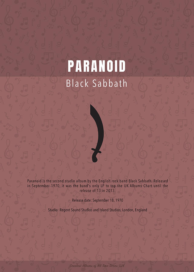 Paranoid Mixed Media - Paranoid Black Sabbath The Greatest Albums Of All Time Minimalist Series by Design Turnpike