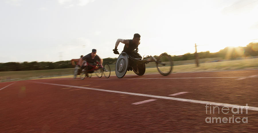 Ambition Photograph - Paraplegic Athletes During Wheelchair Race by Caia Image/science Photo Library