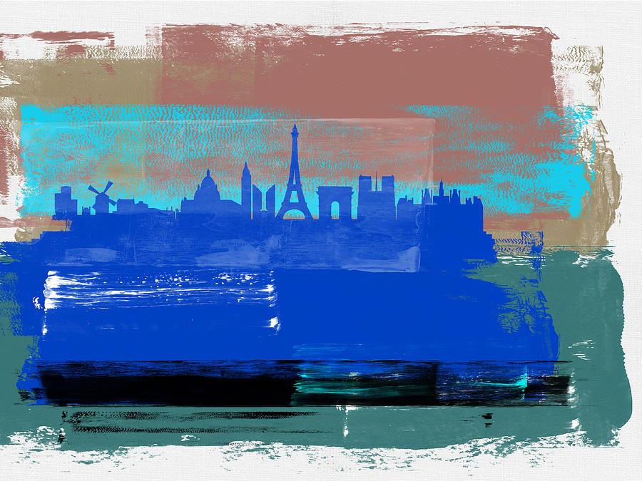 Paris Mixed Media - Paris Abstract Skyline I by Naxart Studio