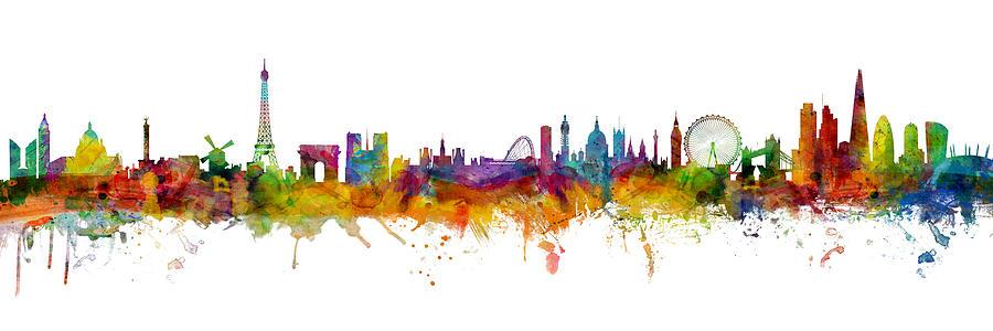 Paris Digital Art - Paris and London Skylines mashup by Michael Tompsett