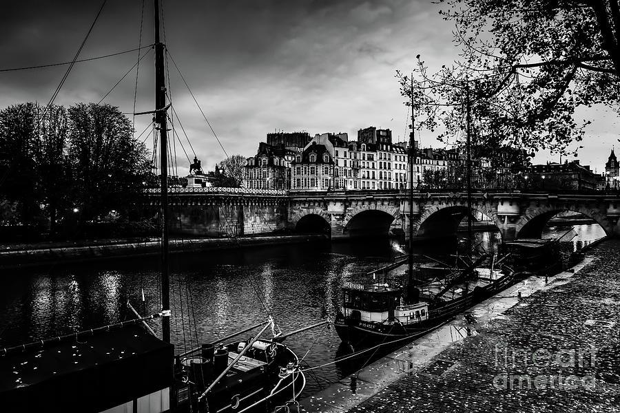 Paris at Night - Seine River Towards Pont Neuf by Miles Whittingham