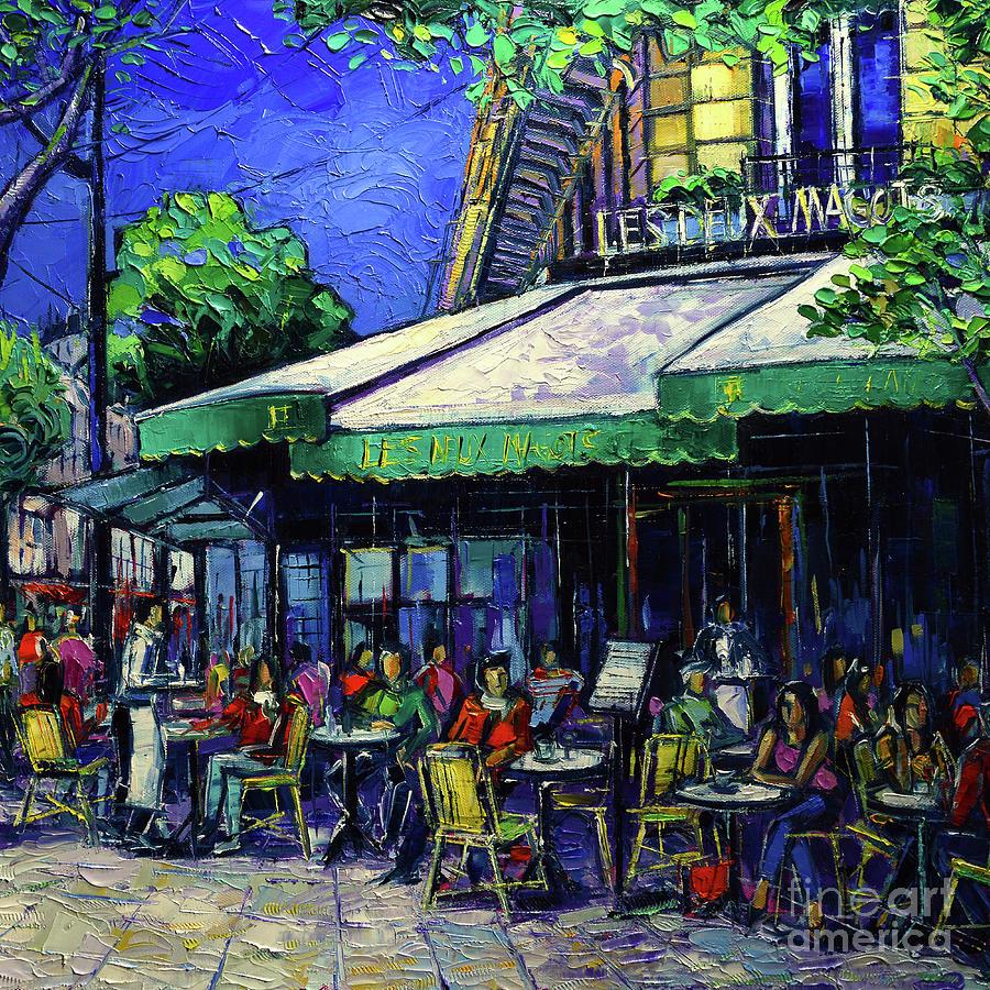 Les Deux Magots Painting - Paris Cafe Les Deux Magots by Mona Edulesco