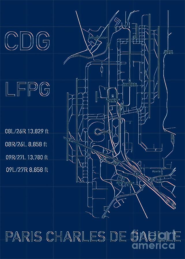 Paris CDG Airport Blueprint Light by HELGE