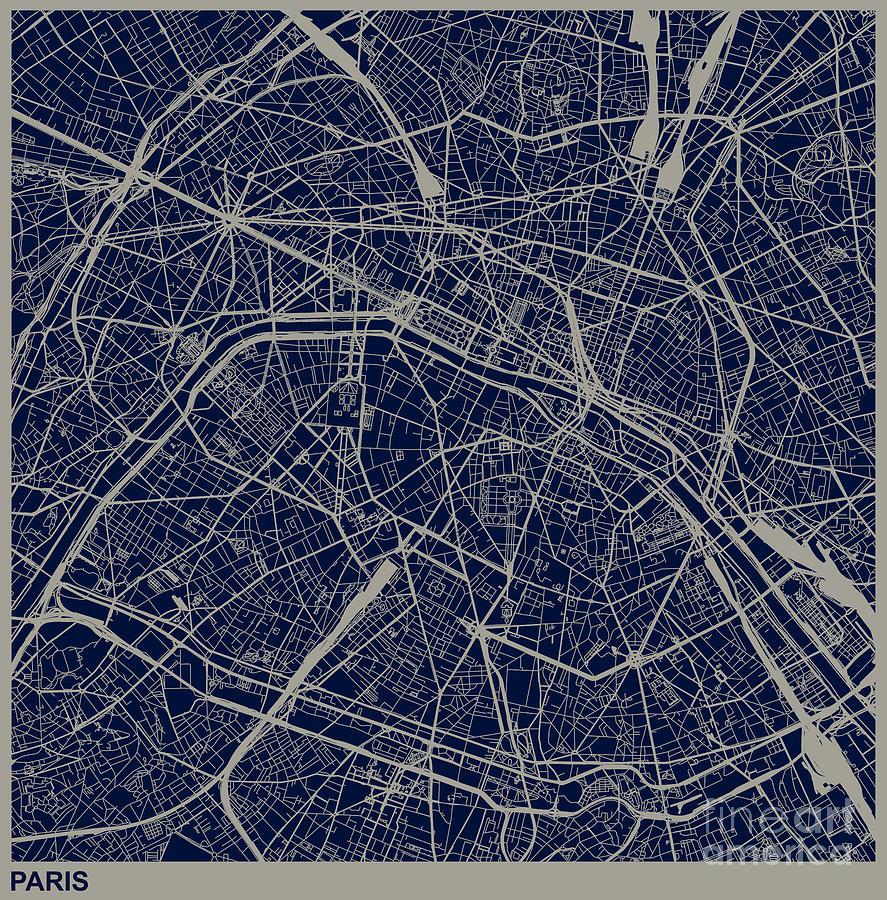 Paris City Structure Illustration Digital Art by Shuoshu