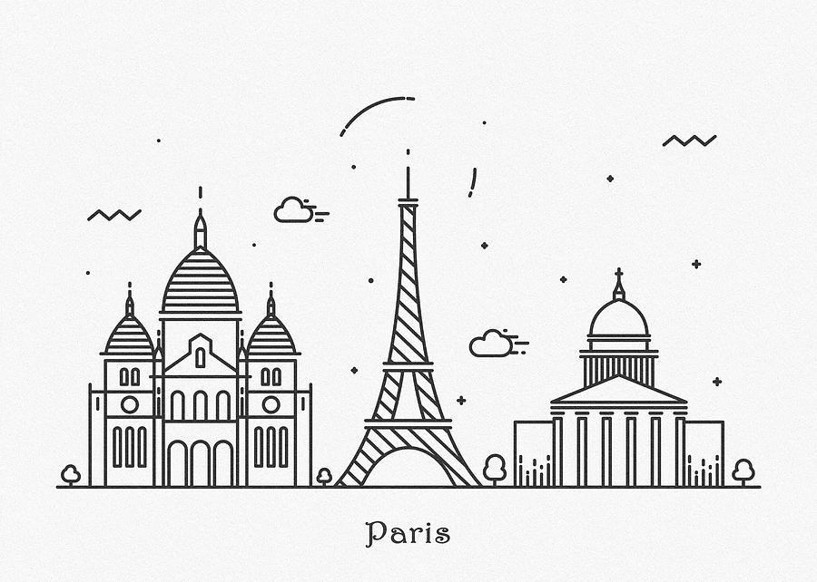 Paris Cityscape Travel Poster Drawing By Inspirowl Design