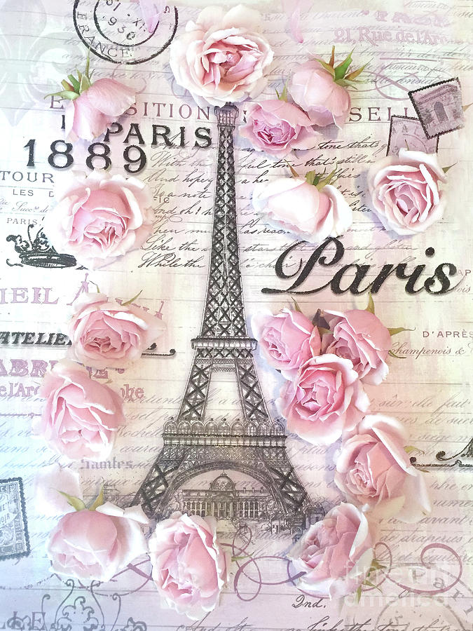Paris Photograph - Paris Eiffel Tower Shabby Chic Pink Roses French Script Parisian Prints Typography  by Kathy Fornal