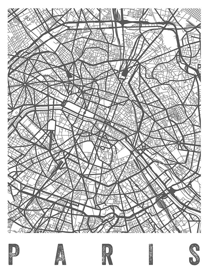 Paris France Street Map - White Digital Art by Aged Pixel