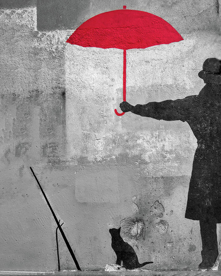 Paris Graffiti Man With Red Umbrella by Gigi Ebert