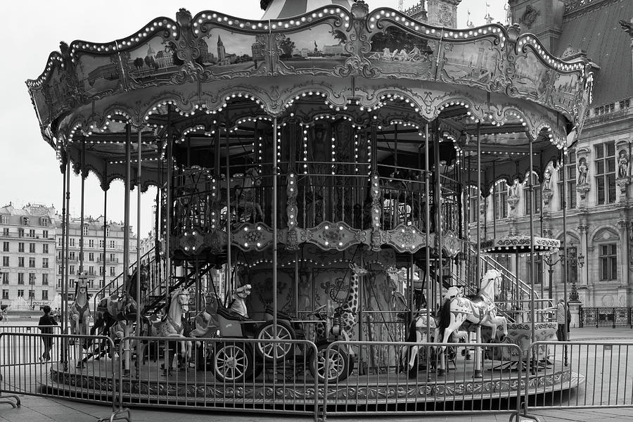 Paris Merry Go Round in Mono by Georgia Fowler
