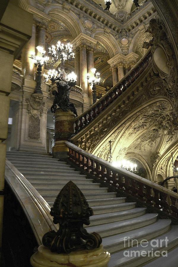 Paris Photograph - Paris Opera Garnier - Paris Opera House Grand Staircase by Kathy Fornal