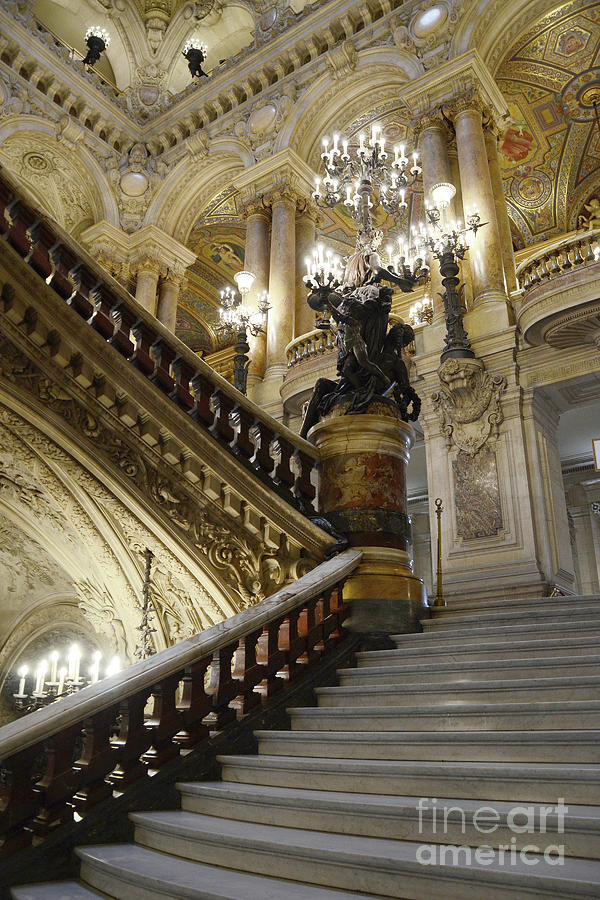 Paris Photograph - Paris Opera House Grand Staircase Chandeliers Architecture  by Kathy Fornal