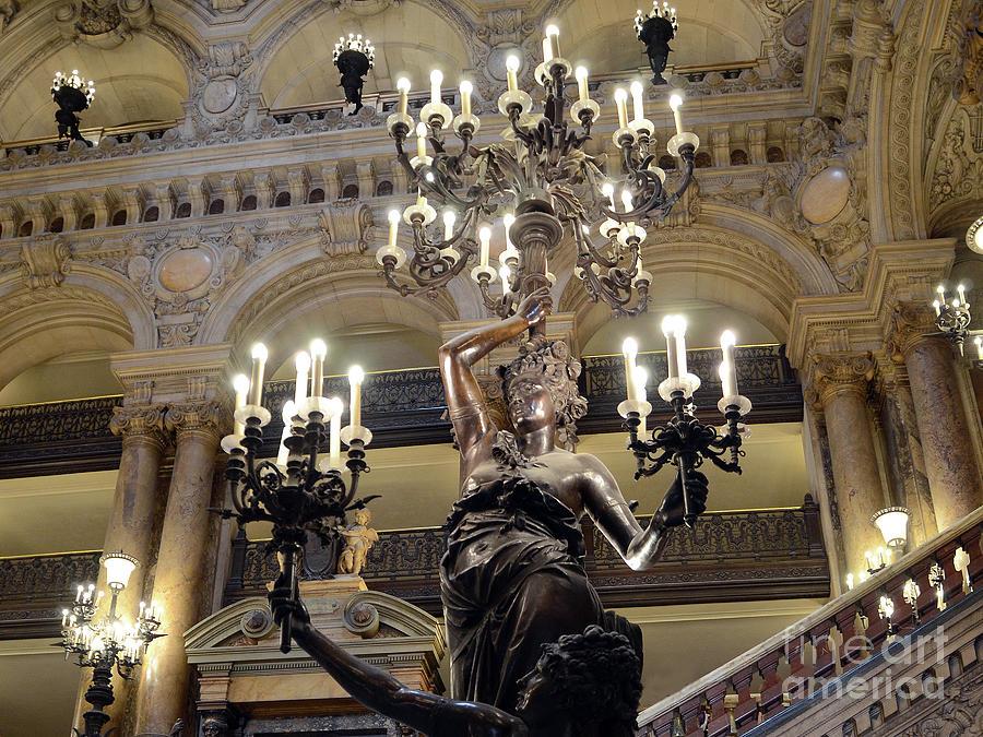 Paris Photograph - Paris Opera House Ladies Holding Candelabra Chandeliers - Opera Garnier Opulent Chandeliers  by Kathy Fornal