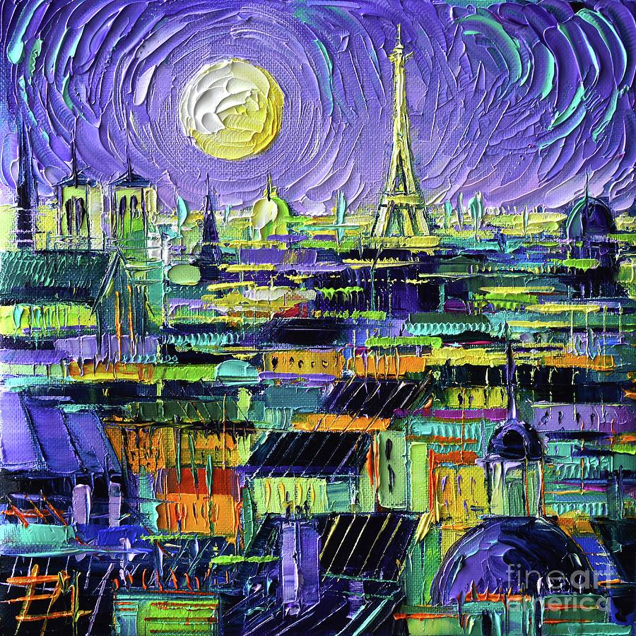 Paris Rooftops Painting - PARIS PURPLE NIGHT - Textural Impressionist Stylized Cityscape Mona Edulesco by Mona Edulesco