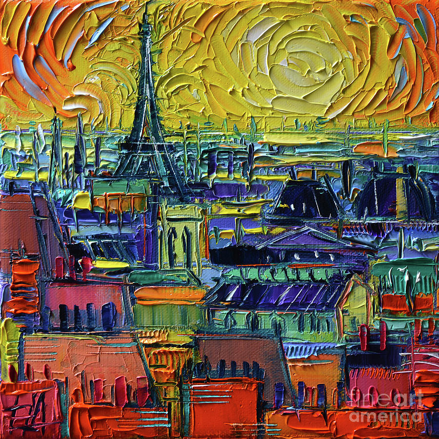 Paris Rooftops Painting - Paris Rooftops View From Centre Pompidou - Textural Impressionist Stylized Cityscape Mona Edulesco by Mona Edulesco