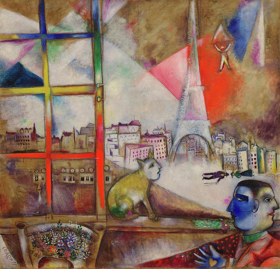 Marc Chagall Painting - Paris Through The Window - Paris Par La Fenetre, 1913 by Marc Chagall