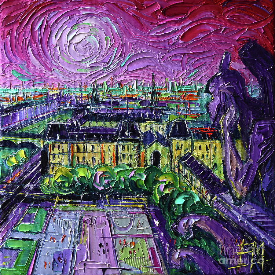 Diptych Painting - Paris View With Gargoyles Diptych Oil Painting Right Panel by Mona Edulesco