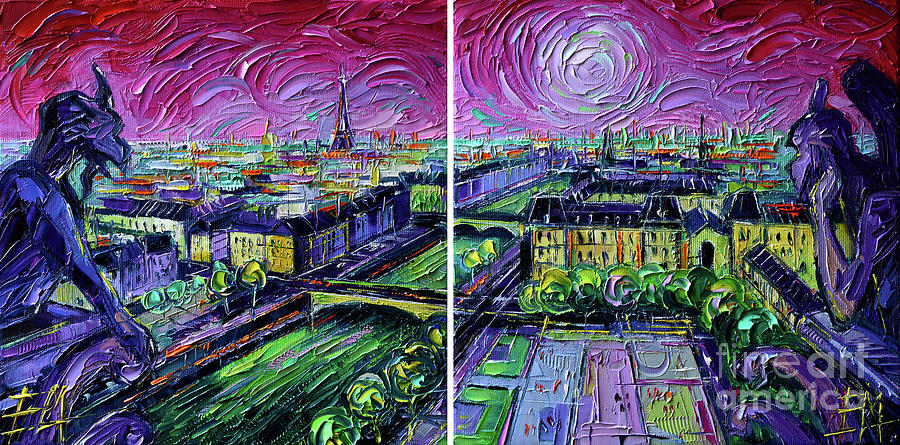 Diptych Painting - Paris View With Gargoyles - Textural Impressionist Diptych Oil Painting Mona Edulesco   by Mona Edulesco