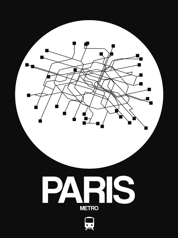 European Cities Photograph - Paris White Subway Map by Naxart Studio