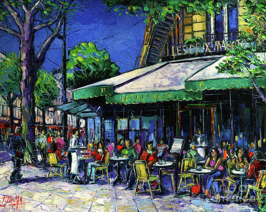 Les Deux Magots Painting - Parisian Cafe by Mona Edulesco