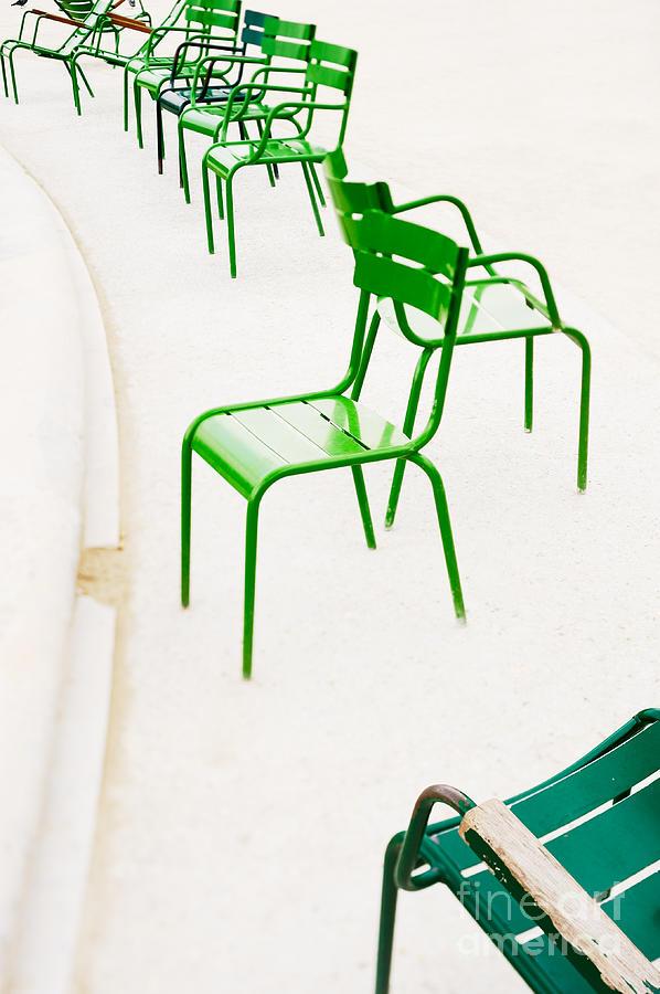 Tilt-shift Photograph - Parisian Metallic Chairs. Photo With by Anatoli Styf
