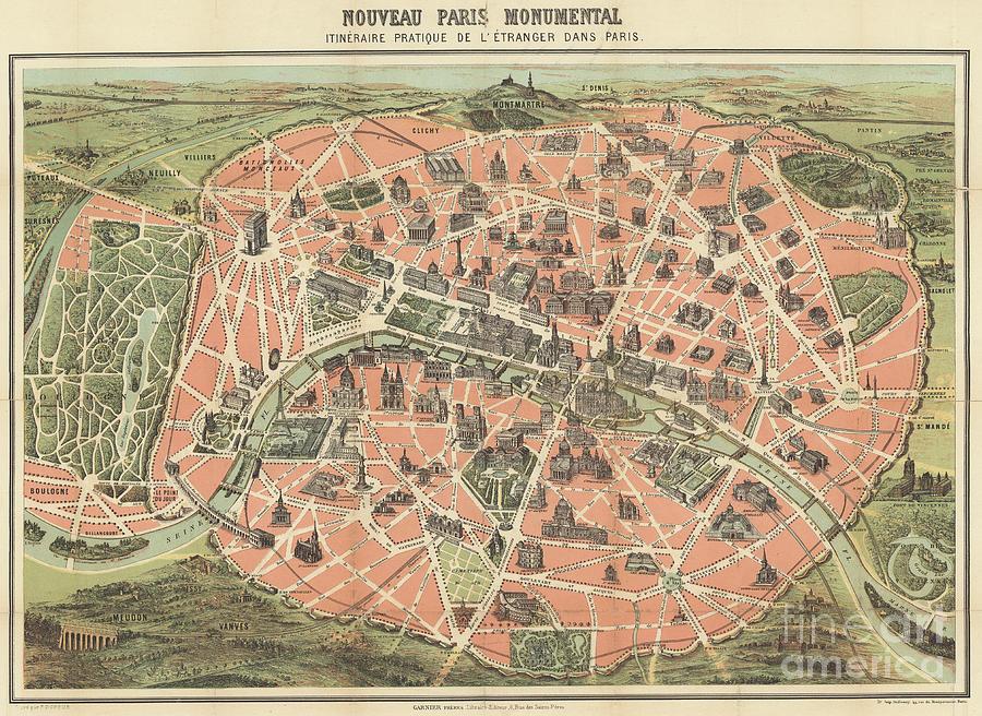Parisian monuments map by F Dufour