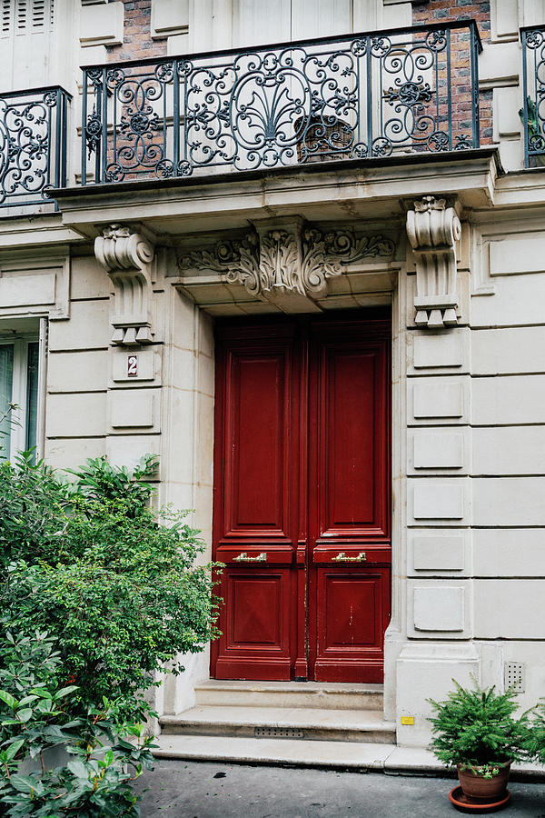 Parisian Red Door with Balcony by Georgia Fowler
