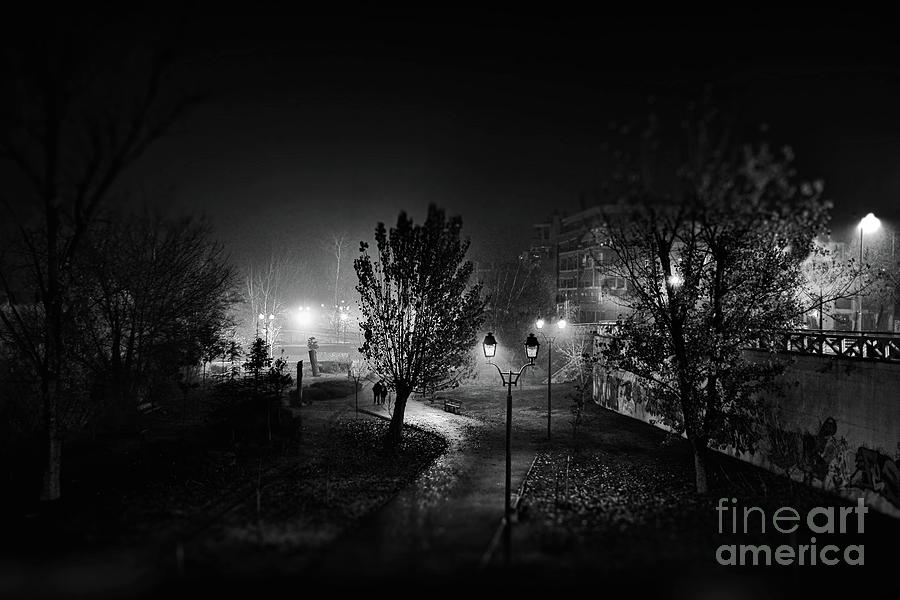 Park At Night, Larissa, Thessaly, Greece Photograph by V.k Sfakianopoulos