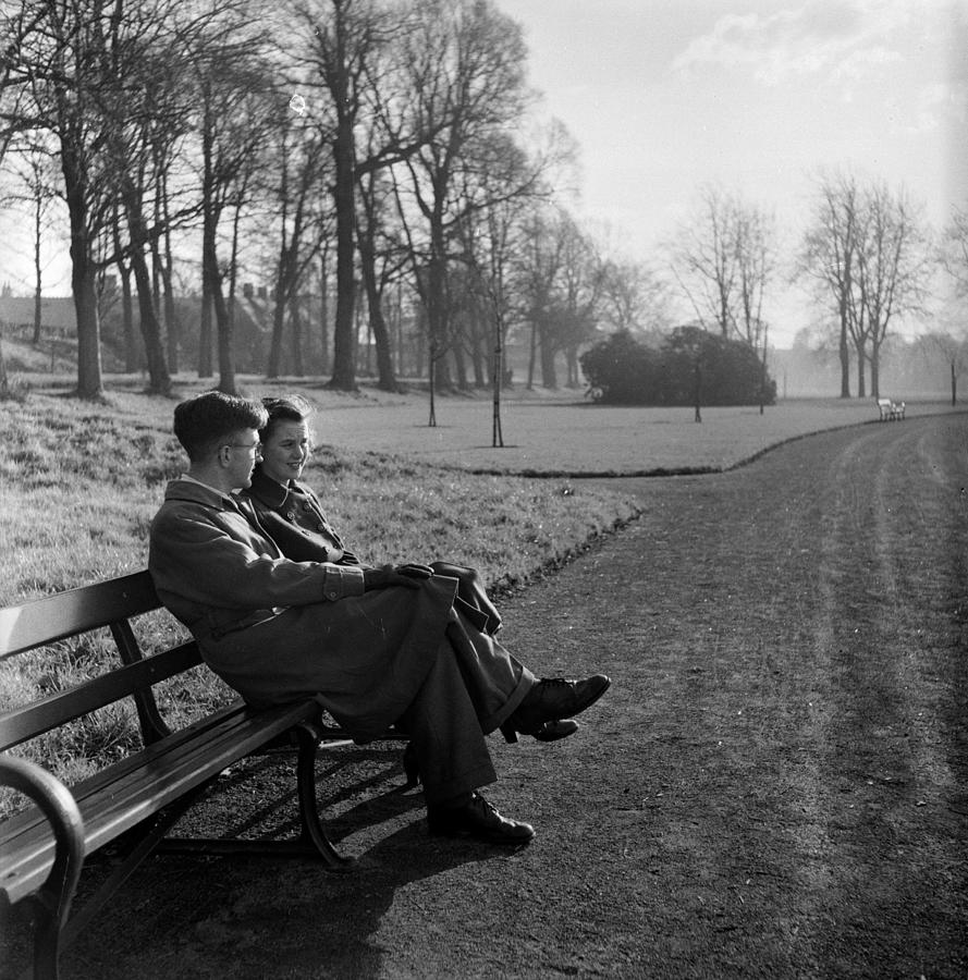 Park Bench Couple Photograph by Bert Hardy