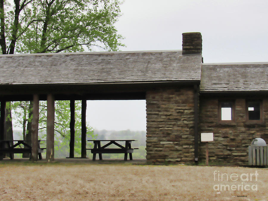 Park Shelter on a Gray Day by Roberta Byram