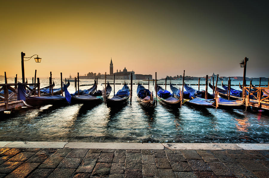 Italy Photograph - Parked Gondolas, Early Morning In Venice, Italy.  by Ian Robert Knight