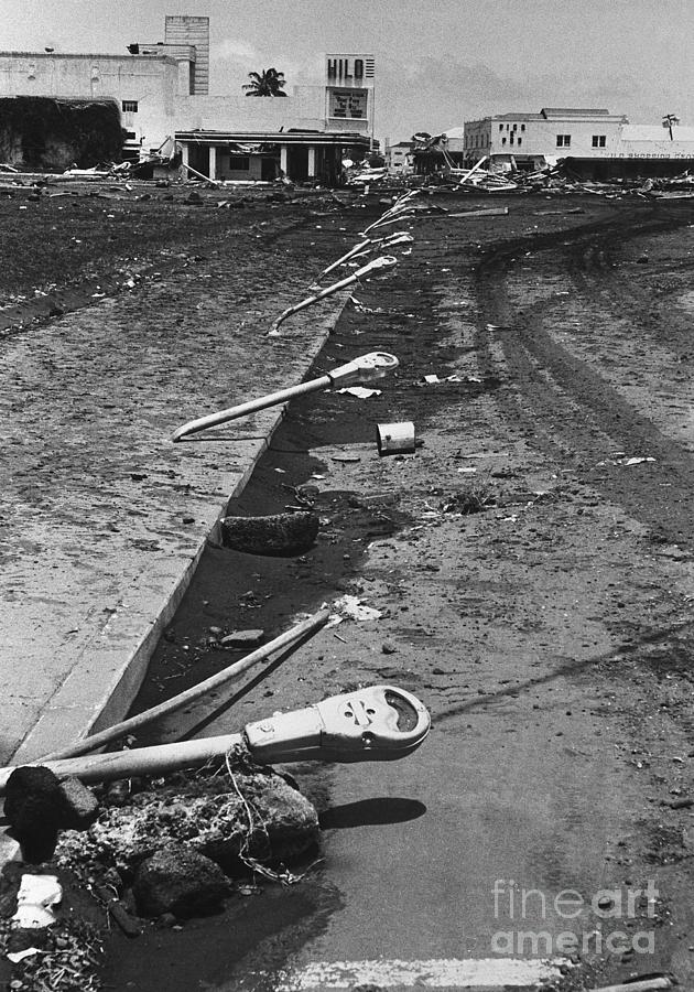 Parking Meters Bent From Tidal Wave Photograph by Bettmann