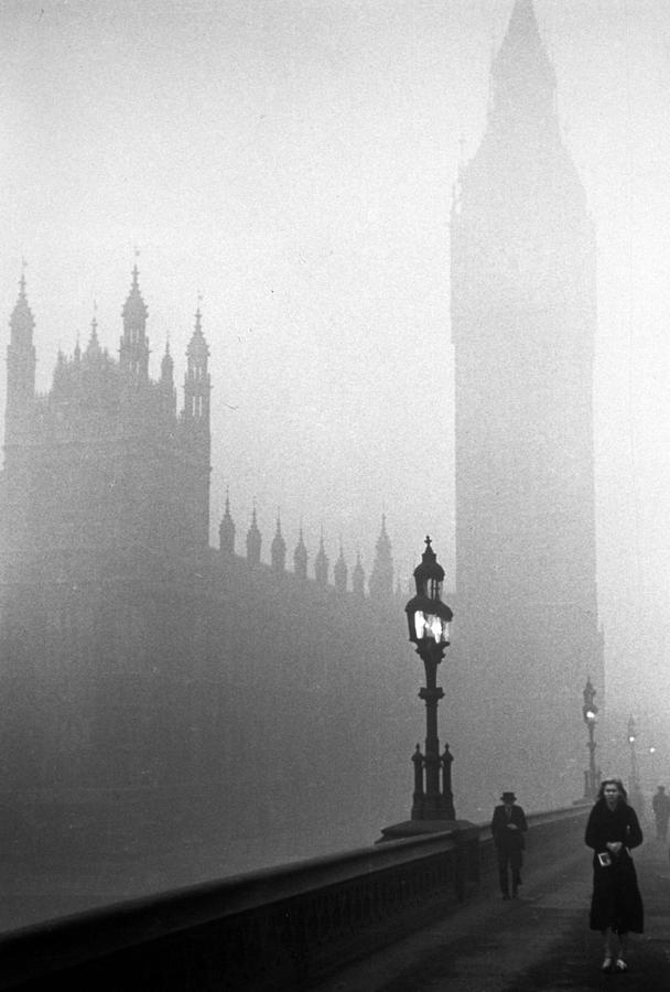 Parliament Fog Photograph by Kurt Hutton