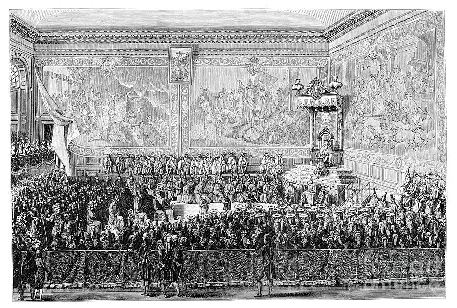 Parliament Meeting, Versailles 1776 Drawing by Print Collector
