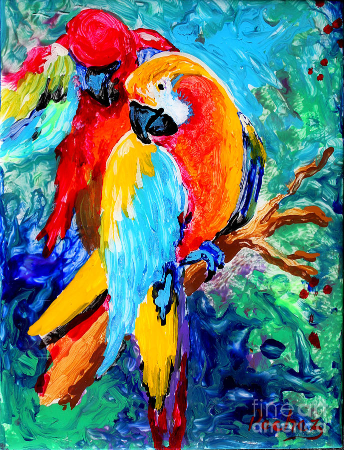 Parrots on 6x8 tile by Pechez Sepehri