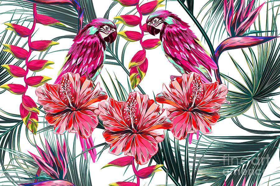 Palm Digital Art - Parrots Tropical Flowers Palm Leaves by Nataliako