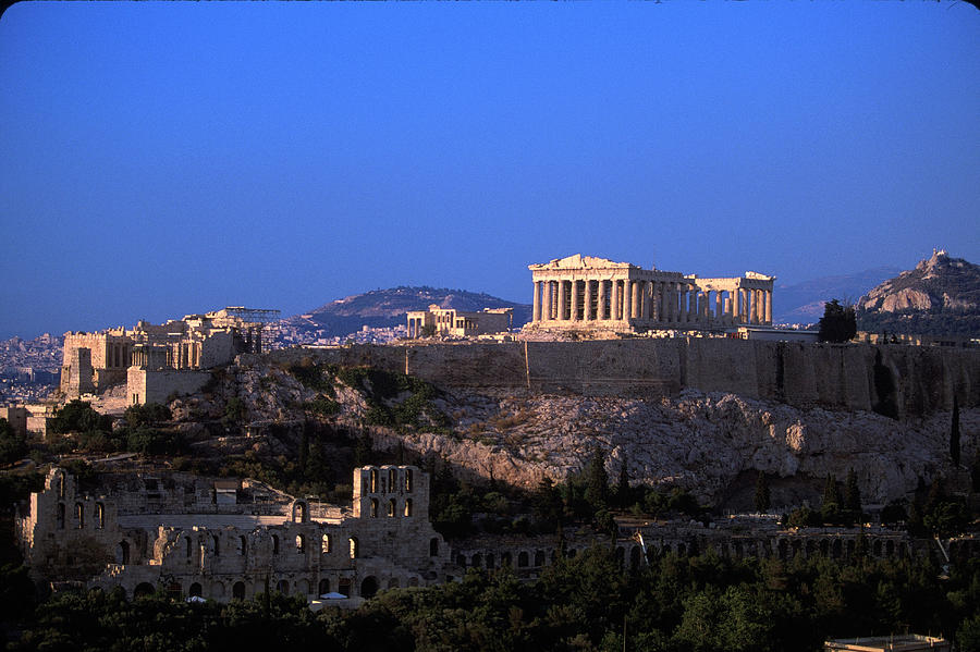 Parthenon From Filopapou At Dusk Photograph by Walter Bibikow