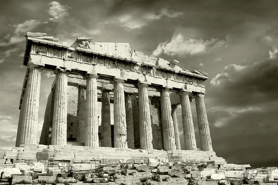 Parthenon With Moody Sky Photograph by Vasiliki