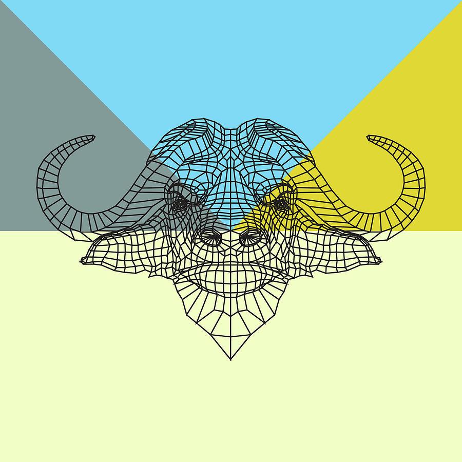 Buffalo Digital Art - Party Buffalo Mesh by Naxart Studio