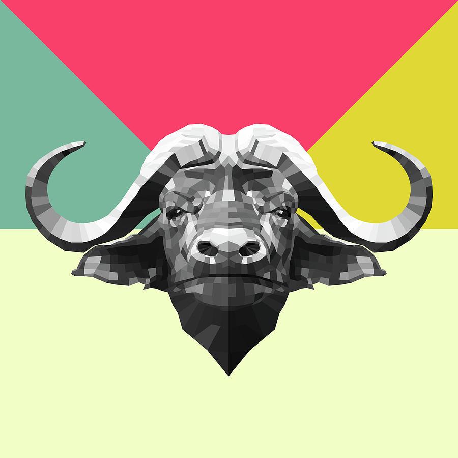 Buffalo Digital Art - Party Buffalo by Naxart Studio