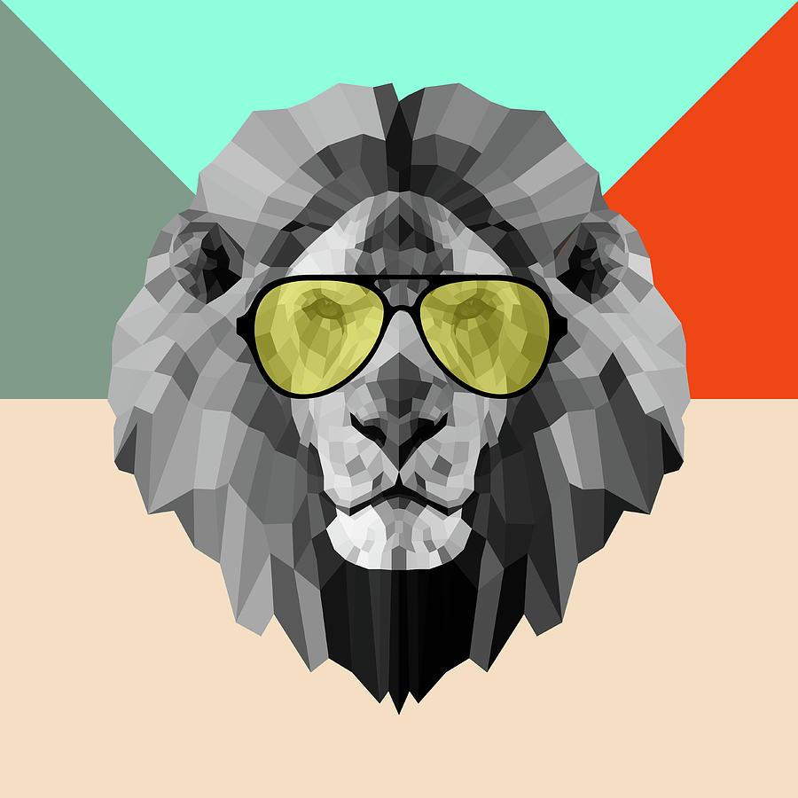 Lion Digital Art - Party Lion In Glasses by Naxart Studio