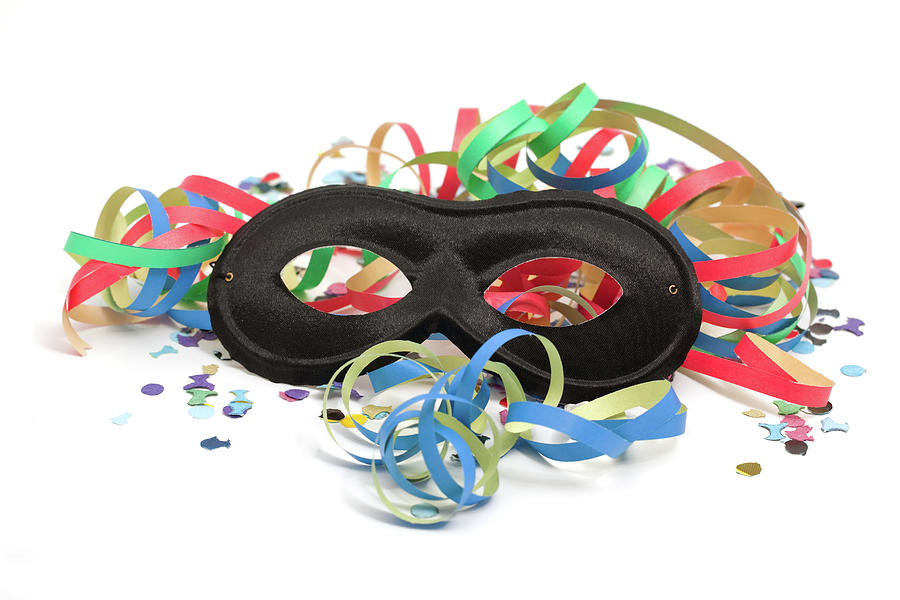 Party Mask, Streamers And Confetti Photograph by Ursula Alter