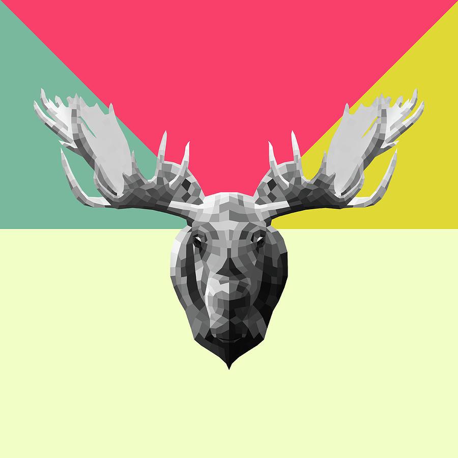 Moose Digital Art - Party Moose by Naxart Studio