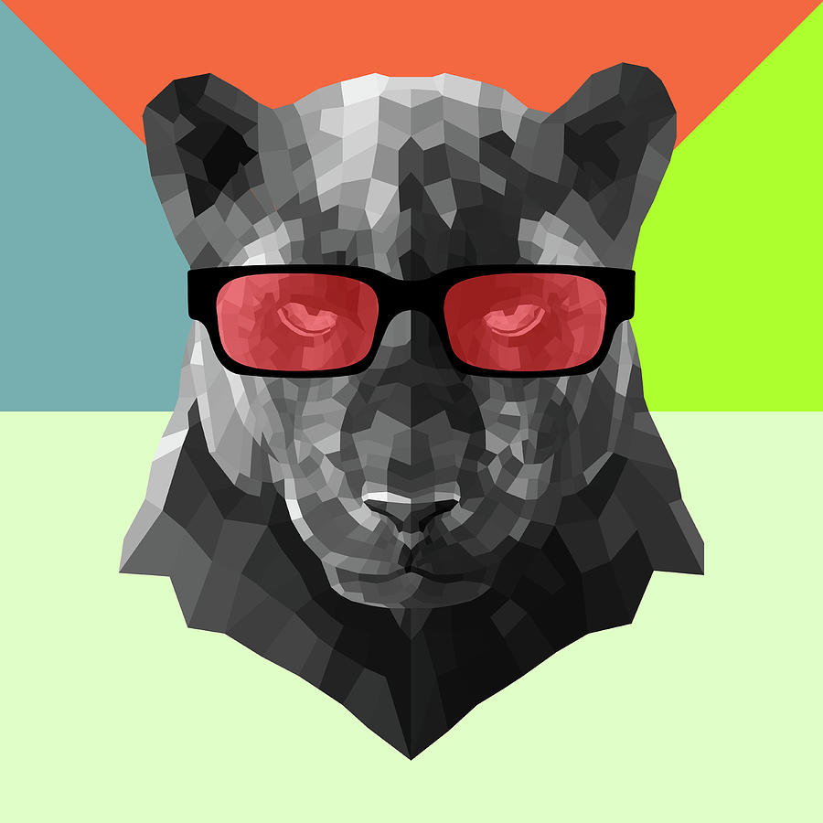 Panther Digital Art - Party Panther In Red Glasses by Naxart Studio