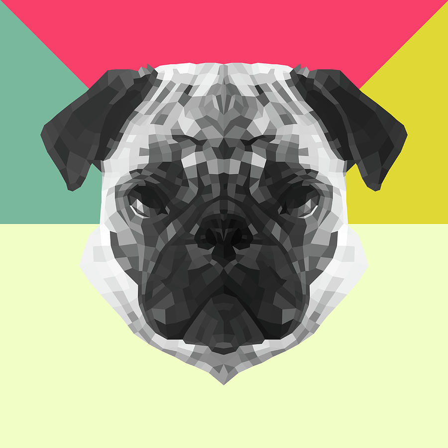 Pug Digital Art - Party Pug by Naxart Studio