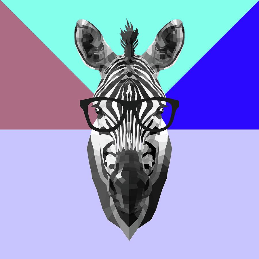 Zebra Digital Art - Party Zebra In Glasses by Naxart Studio