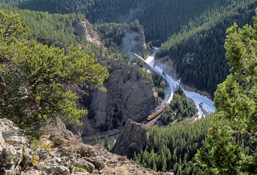 Passenger Train In Rollins Canyon Photograph by Mike Danneman