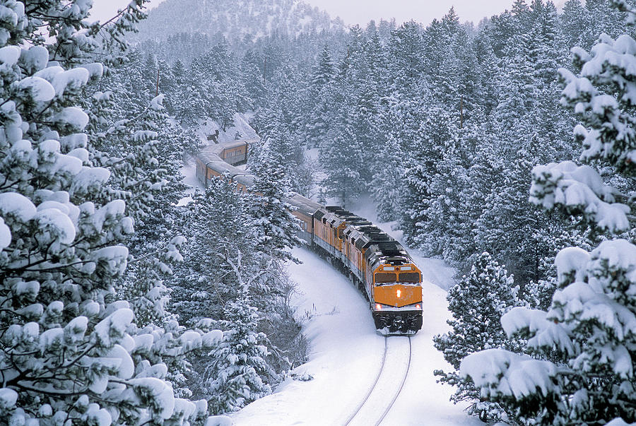 Passenger Train In Winter Wonderland Photograph by Mike Danneman