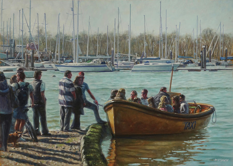 Passengers boarding the Hamble Water Taxi in Hampshire by Martin Davey