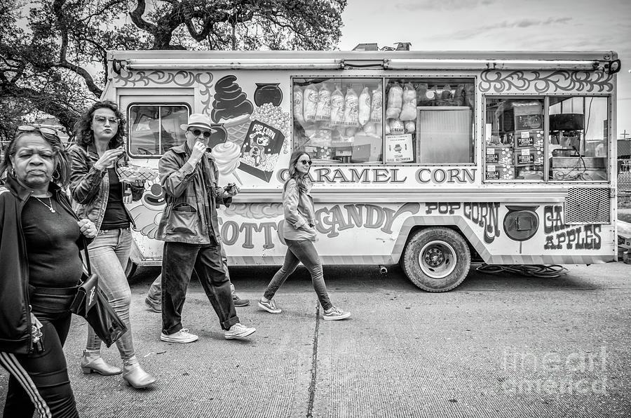 Passing by the Cotton Candy Truck - BW by Kathleen K Parker