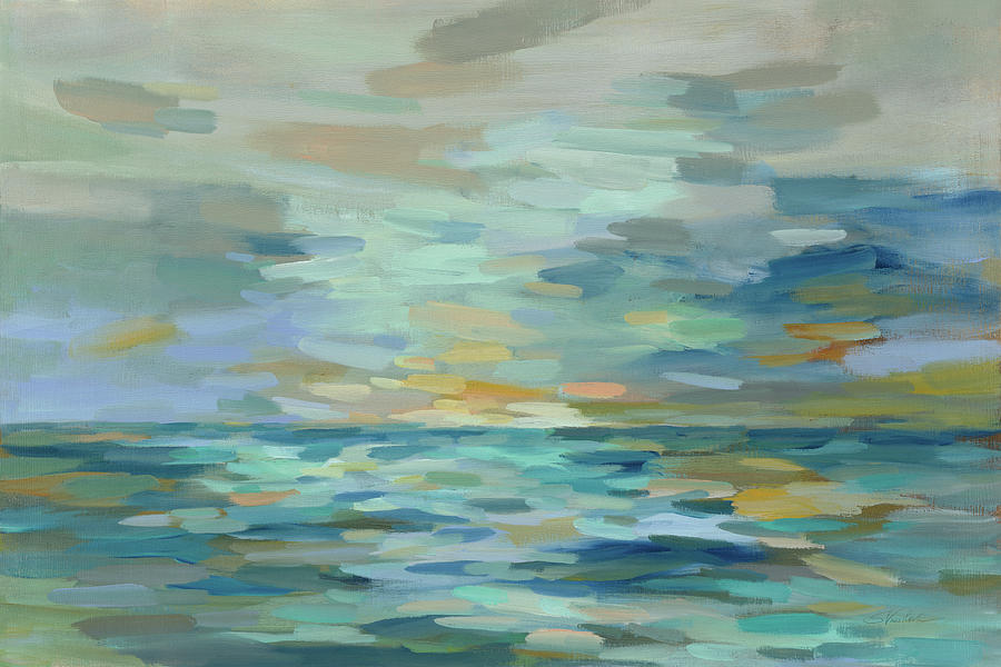 Abstract Painting - Pastel Blue Sea by Silvia Vassileva